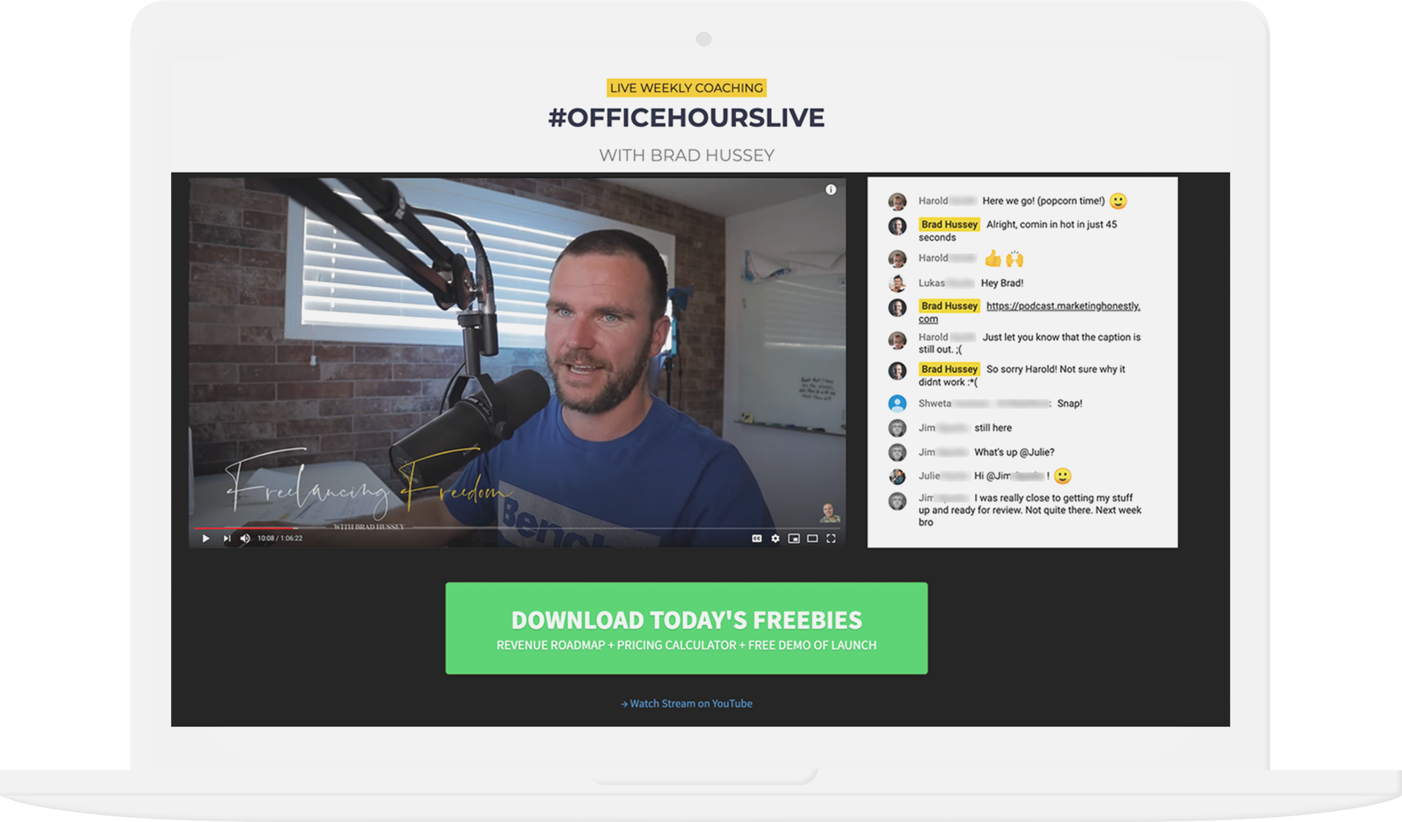 Totally free webinar setup: YouTube Live embedded on an HTML page with a call to action button